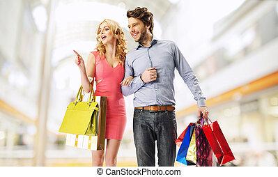 małżeństwo, para, shopping mall, radosny