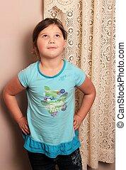 mała dziewczyna, biodra, siła robocza