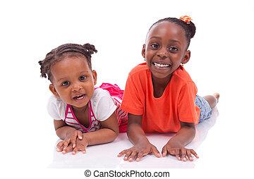 mała dziewczyna, czarna amerikanka, sprytny, -, afrykanin, dzieci