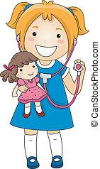 mała dziewczyna, doktor