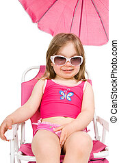 mała dziewczyna, na plaży