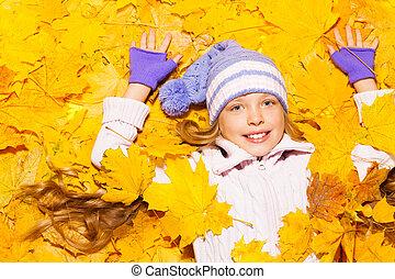 mała dziewczyna, pieśń, w, autumn klon odchodzi