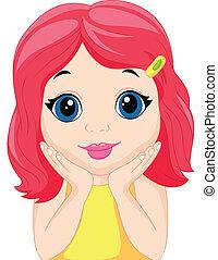 mała dziewczyna, przedstawianie, sprytny, rysunek