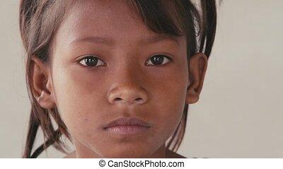 mała dziewczyna, smutny, asian dziecko