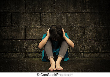 mała dziewczyna, smutny, przygnębiony