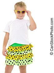 mała dziewczyna, sunglasses.