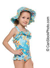 mała dziewczyna, w, niejaki, kostium kąpielowy