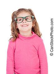 mała dziewczyna, w, różowy, z, okulary, przeglądnięcie do góry