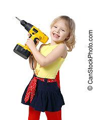 mała dziewczyna, z, śrubokręt, w, siła robocza