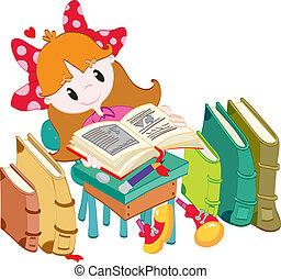 mała dziewczyna, z, książki