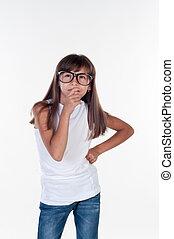 mała dziewczyna, z, okulary, myślenie