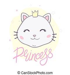 mała księżna, dziewczyna, kot, sprytny