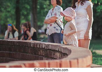 mała macierz, córka, fontanna, reputacja, młody, miasto