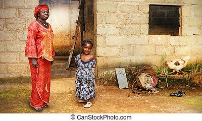 mała macierz, czarna dziewczyna, afrykanin