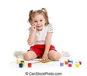 małe dziecko, malarstwo, szczotka, artysta