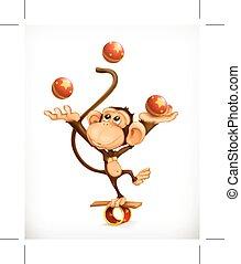 małpa, cyrk, litera, wektor, kuglarz, wykonawca