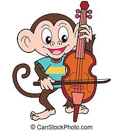 małpa, interpretacja, wiolonczela, rysunek