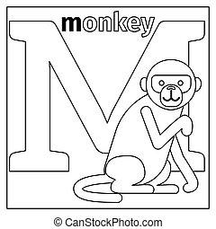 małpa, kolorowanie, m, strona, litera