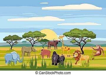 małpa, komplet, tło, hipopotam, nosorożec, lew, zwierzęta, savanna., odizolowany, żyrafa, wektor, bawół, safari, afrykański słoń, krajobrazy, rysunek, styl