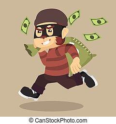 małpa, pieniądze, złodziej, torba, wyścigi, transport