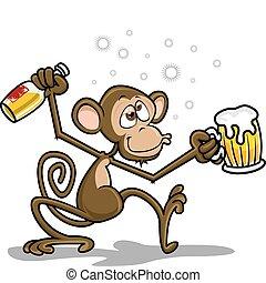 małpa, pijany