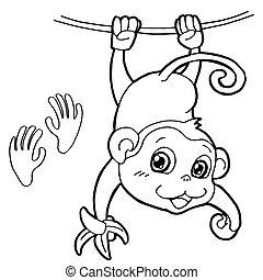 małpa, strona, druk, kolorowanie, łapa