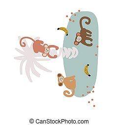 małpa, wektor, illustration., rysunek, banda, sprytny, dziecinny