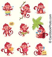 małpy, chartoon, różny, ilustracja, wektor, czyny, czerwony, dziewięć, komplet, caracter, wyrażenia, zabawny