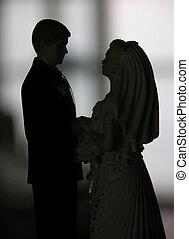 mały, ślub, figury