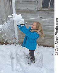 mały, śnieg, dziewczyna, interpretacja