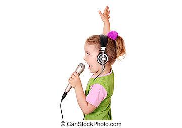 mały, śpiew, dziewczyna