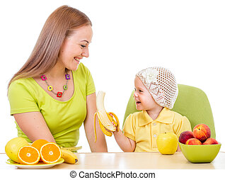 mały, żywieniowy, posiedzenie, zdrowy, odizolowany, jadło, macierz, stół, dziewczyna, biały