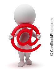 mały, 3d, -, email, ludzie