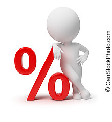 mały, -, 3d, procent, ludzie