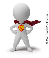 mały, -, 3d, superhero, ludzie