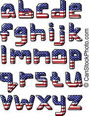 mały, alfabet, usa