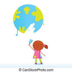 mały, artysta, ziemia, dziecko malarstwo