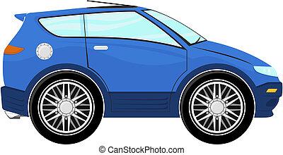 mały, błękitny, rysunek, wóz