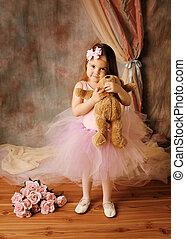 mały, balerina, piękno