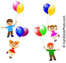 mały, balloon, dziecko