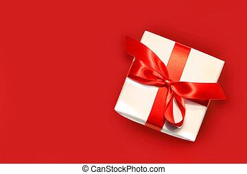 mały, biały, odizolowany, dar, czerwony