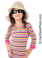 mały, biały, sunglasses, odizolowany, uśmiechnięta dziewczyna