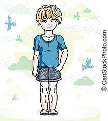 mały, blondynka, sprytny, dziewczyna, berbeć, w, przypadkowe ubranie, reputacja, na, natura, zasłona, z, ptaszki, i, clouds., wektor, ilustracja, od, ładny, child.