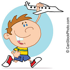mały chłopieją, samolot, interpretacja