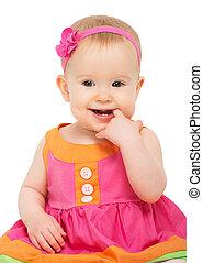 mały, chytry, świąteczny, wielobarwny, jasny, dziewczyna niemowlęcia, strój, szczęśliwy