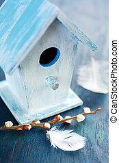 mały, closeup, birdhouse