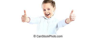 mały, do góry, pokaz, odizolowany, dwa, kciuki, tło, dziewczyna, biały