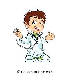 mały, doktor, samiec, sprytny, uśmiechanie się