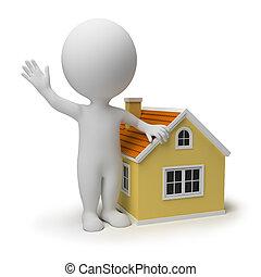 mały, dom, 3d, -, ludzie