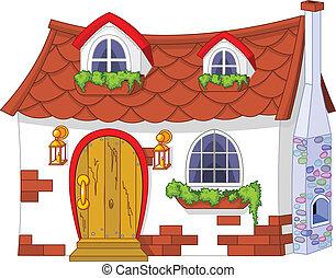 mały, dom, sprytny